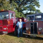 Ludlow Advertiser: David Cookson with two Guy lorries he purchased 25 years ago - a 1974 Big J4T Guy and a 1947 Guy Vixen.
