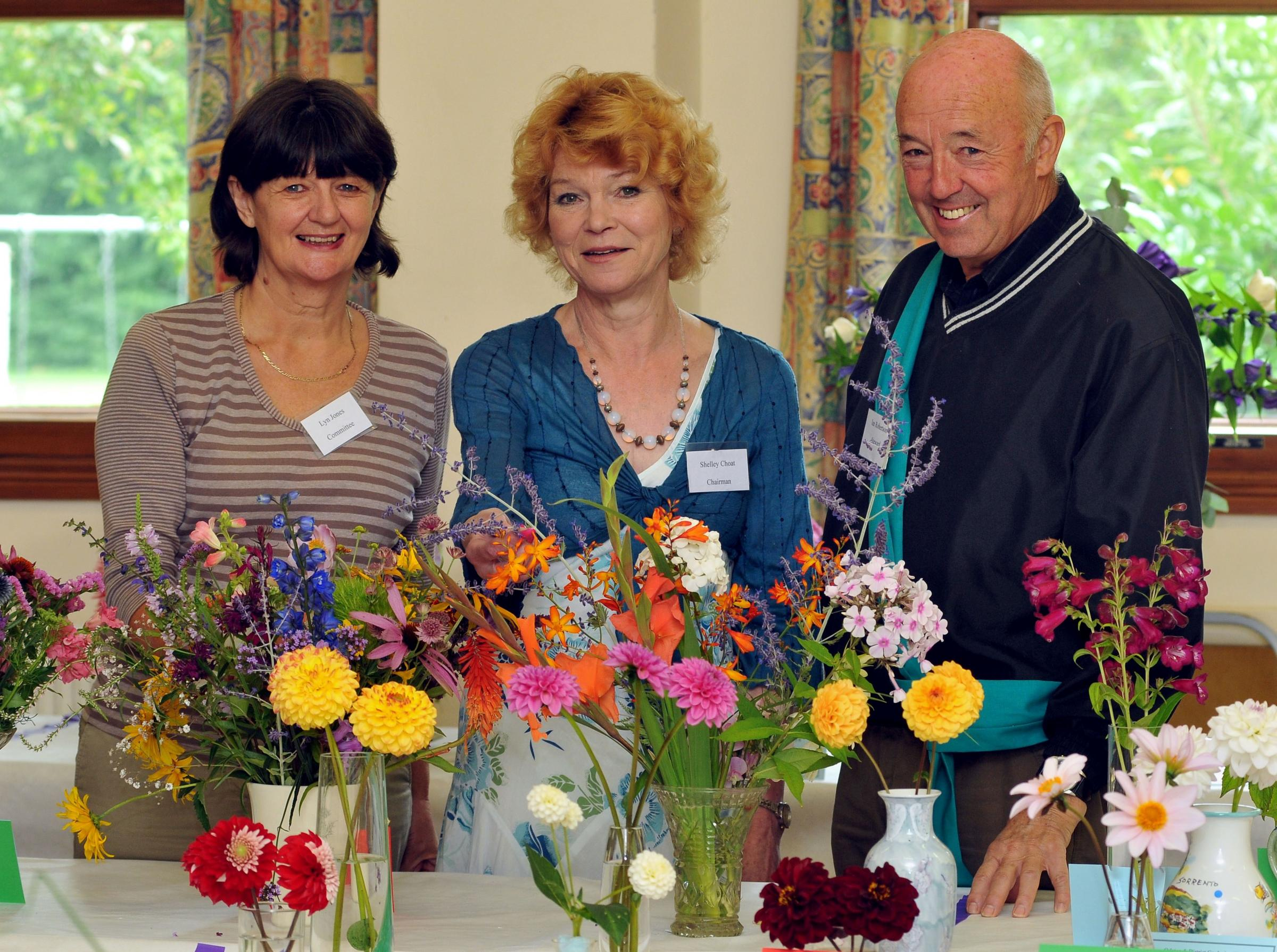 Orleton and District Gardening Club show committee chairman Lyn Jones, club chairman Shelly Choat, and steward