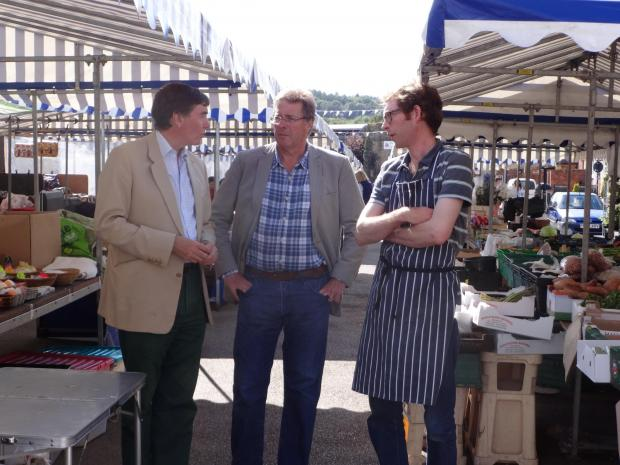 Philip Dunne MP with Nick Mundy, from the Town Centre Residents' Association and local trader He