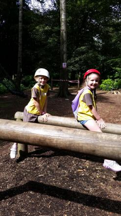 Megan Board and Emmie Morgan from Wellington Brownies on the Low Ropes.