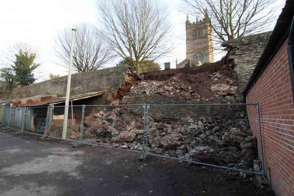 There are concerns over the fragile state of the collapsed wall - pictured here at the time it happened in February 2013.