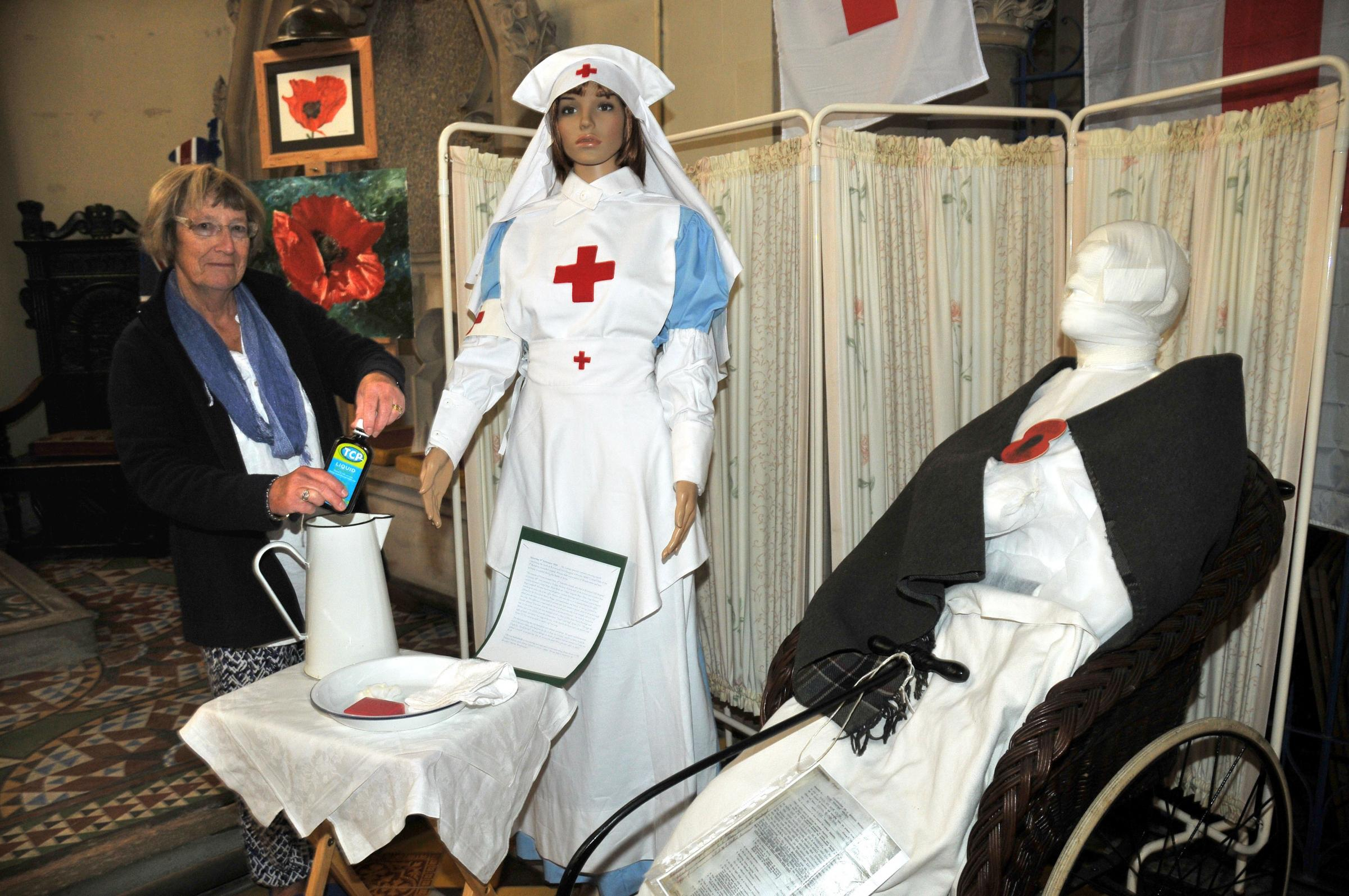 Ros Plested with the First World War hospital exhibition based on nearby Kyrewood House.