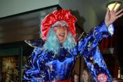 Panto Dame Widow Twankey entertains the crowds before the big switch on. Photos: Keith Gluyas.