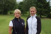 Emily Price (right) with Cleobury Mortimer's ladies captain Julie Currie