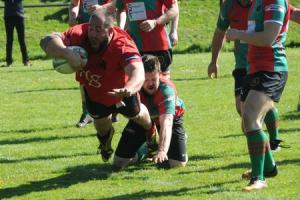 Ludlow's Sam Wilkes dives over to score a try in the match against Cleobury Mortimer.