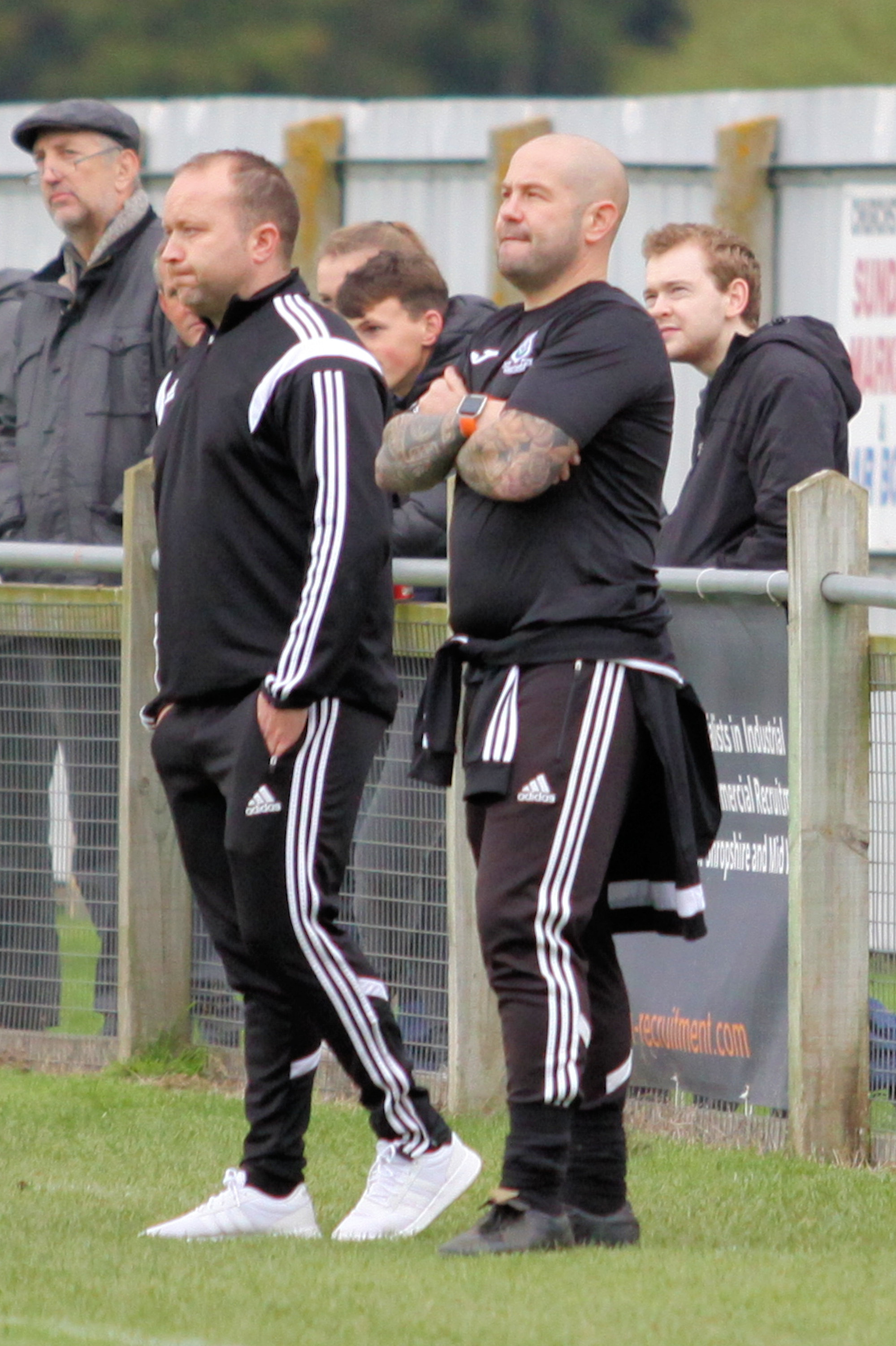 Shawbury United manager Dave Richards (left)
