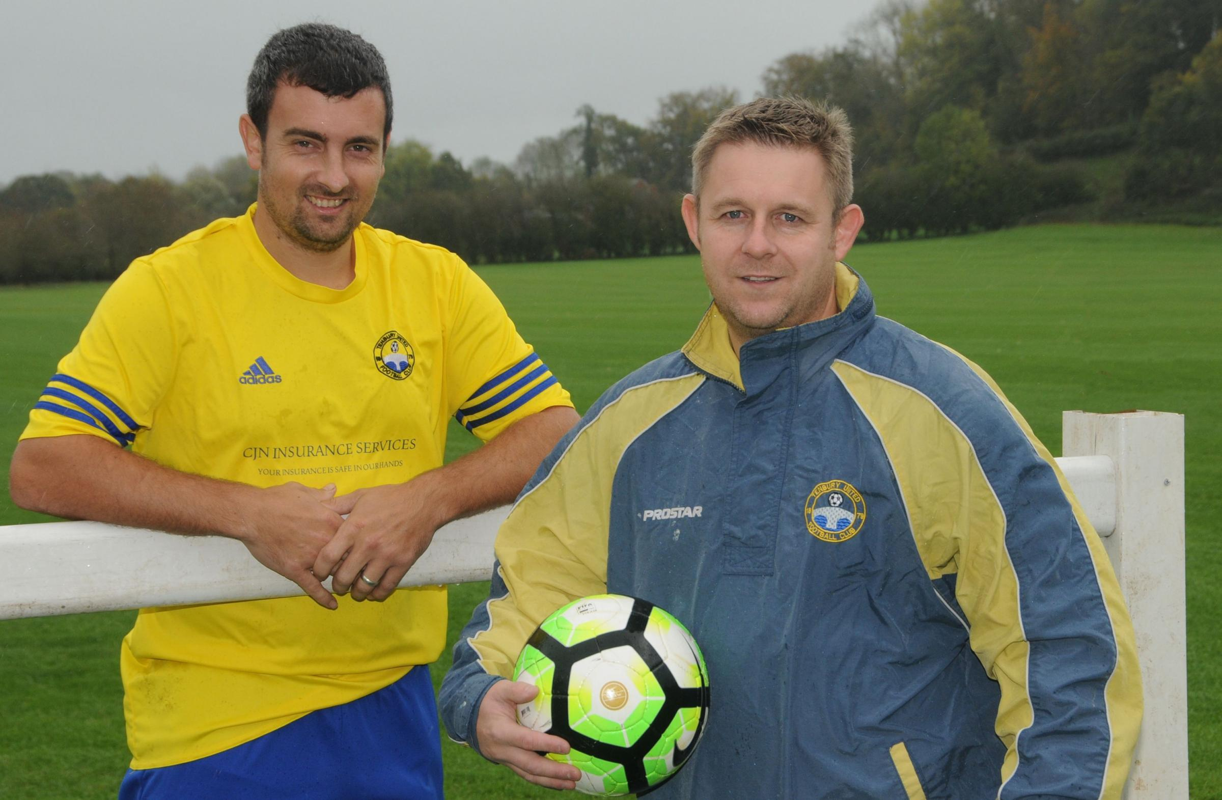 Tenbury United's Aaron Morris and Nicky Stocker..