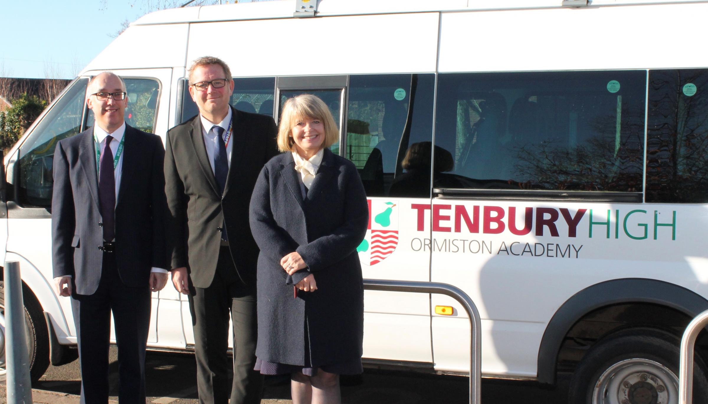Harriett Baldwin MP with from left Jason Howard of the Ormiston Academy Trust and Adrian Price, school Principal
