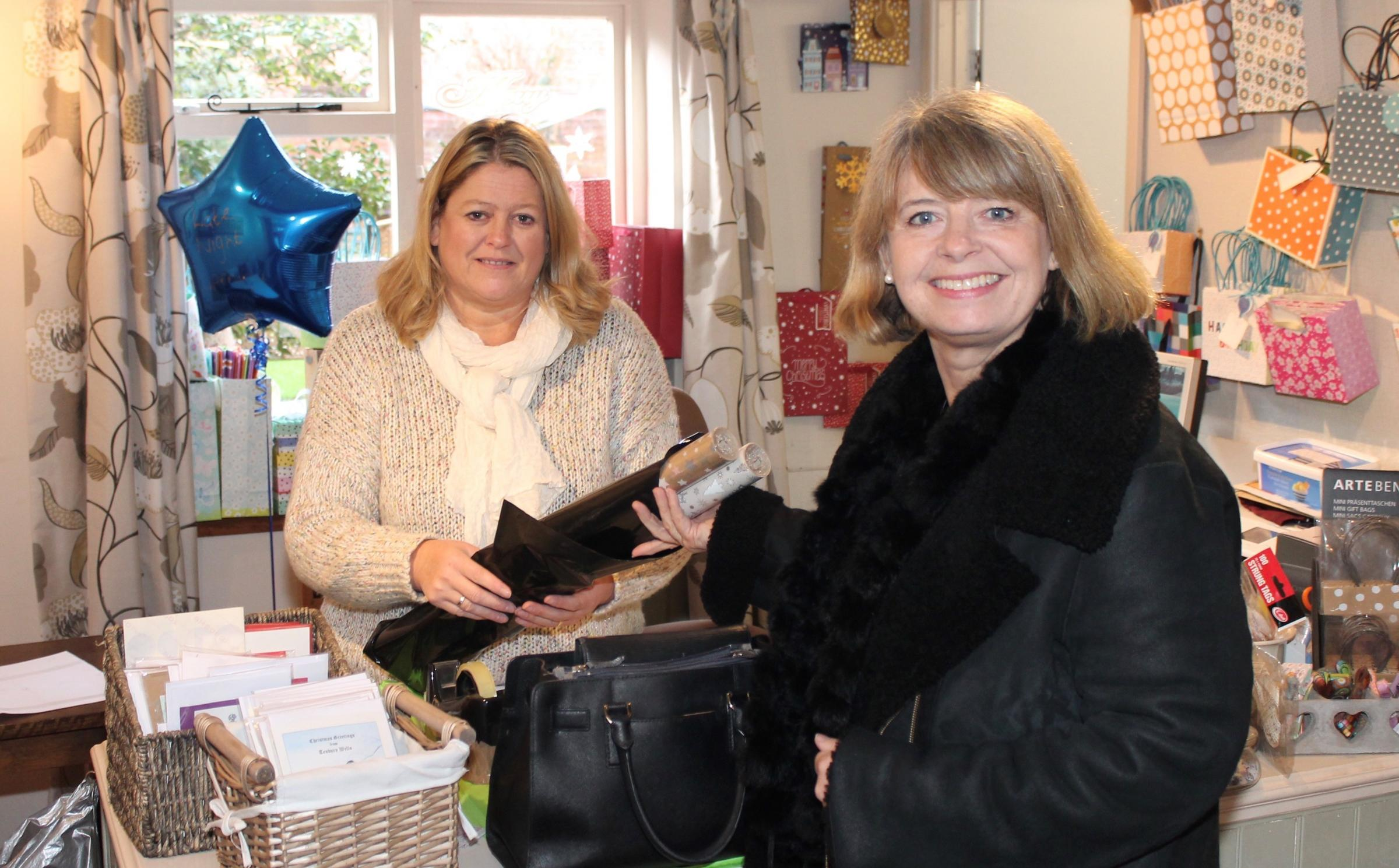 Harriett Baldwin MP shopping at the Harlequin Gift Shop in Tenbury