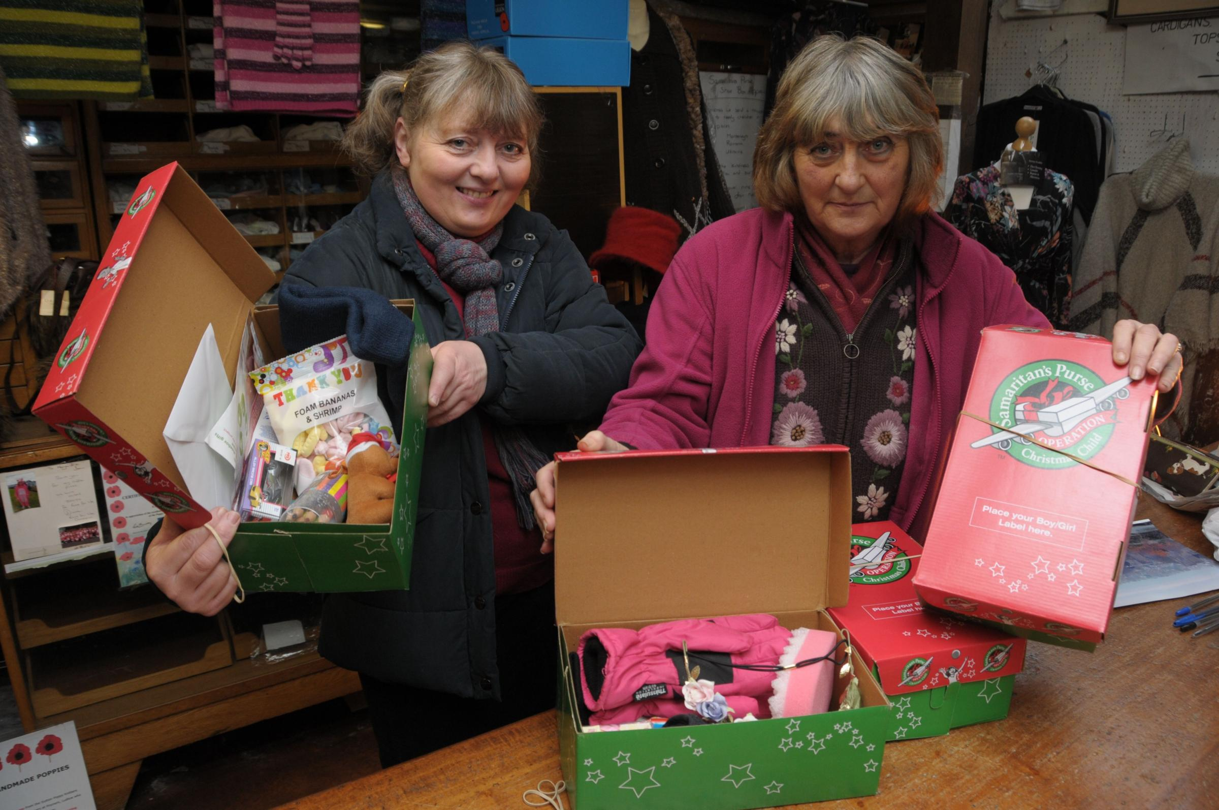 Margaret Edwards and Jean Parker with the last few boxes for the Samaritans Purse Operation Christmas Child. Margaret and Jean would like to thank everyone who have supported and donated to the cause this year which saw 756 boxes sent from Poyners in Ludl