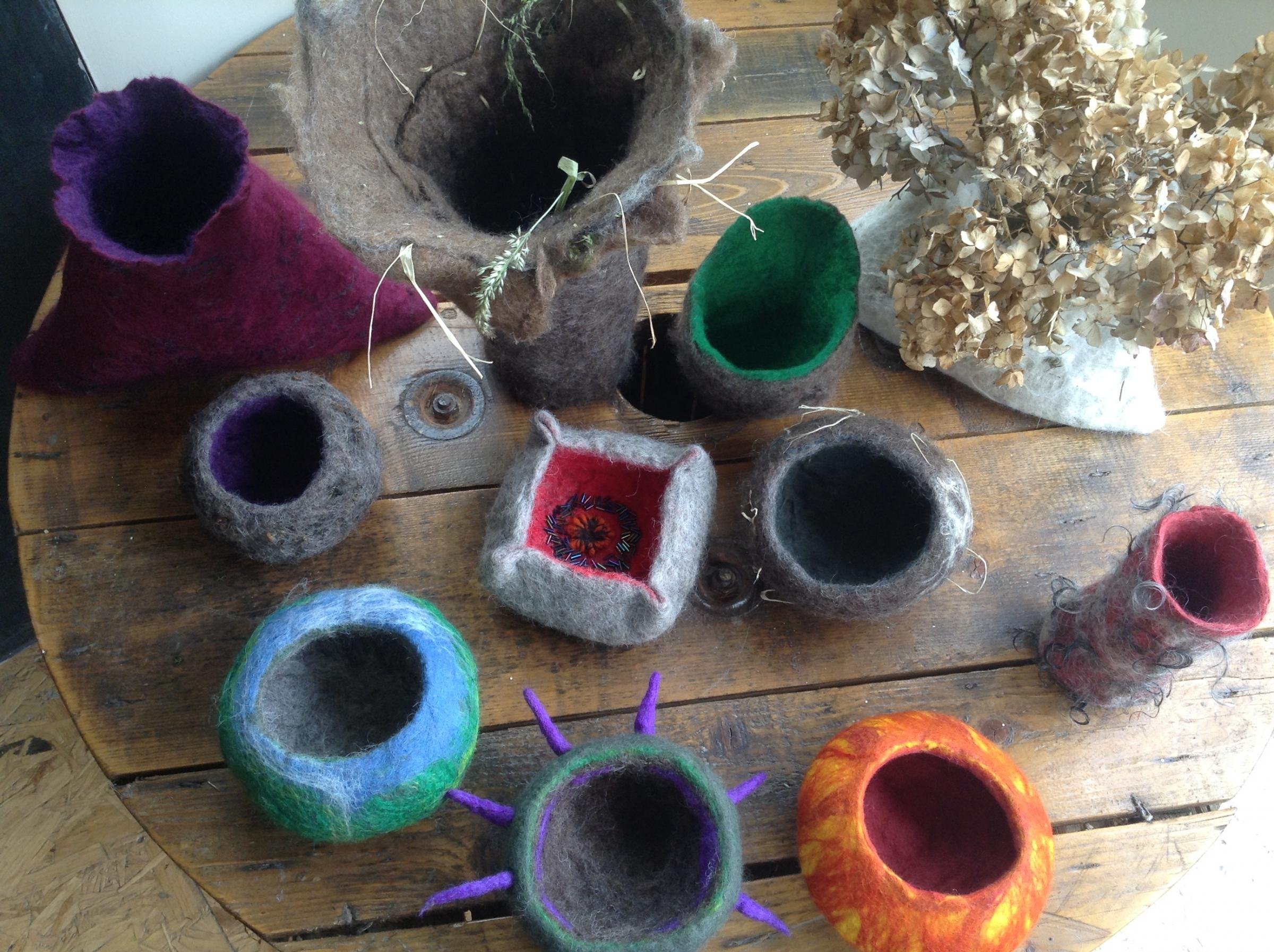Felted pieces made by Fiona Evans