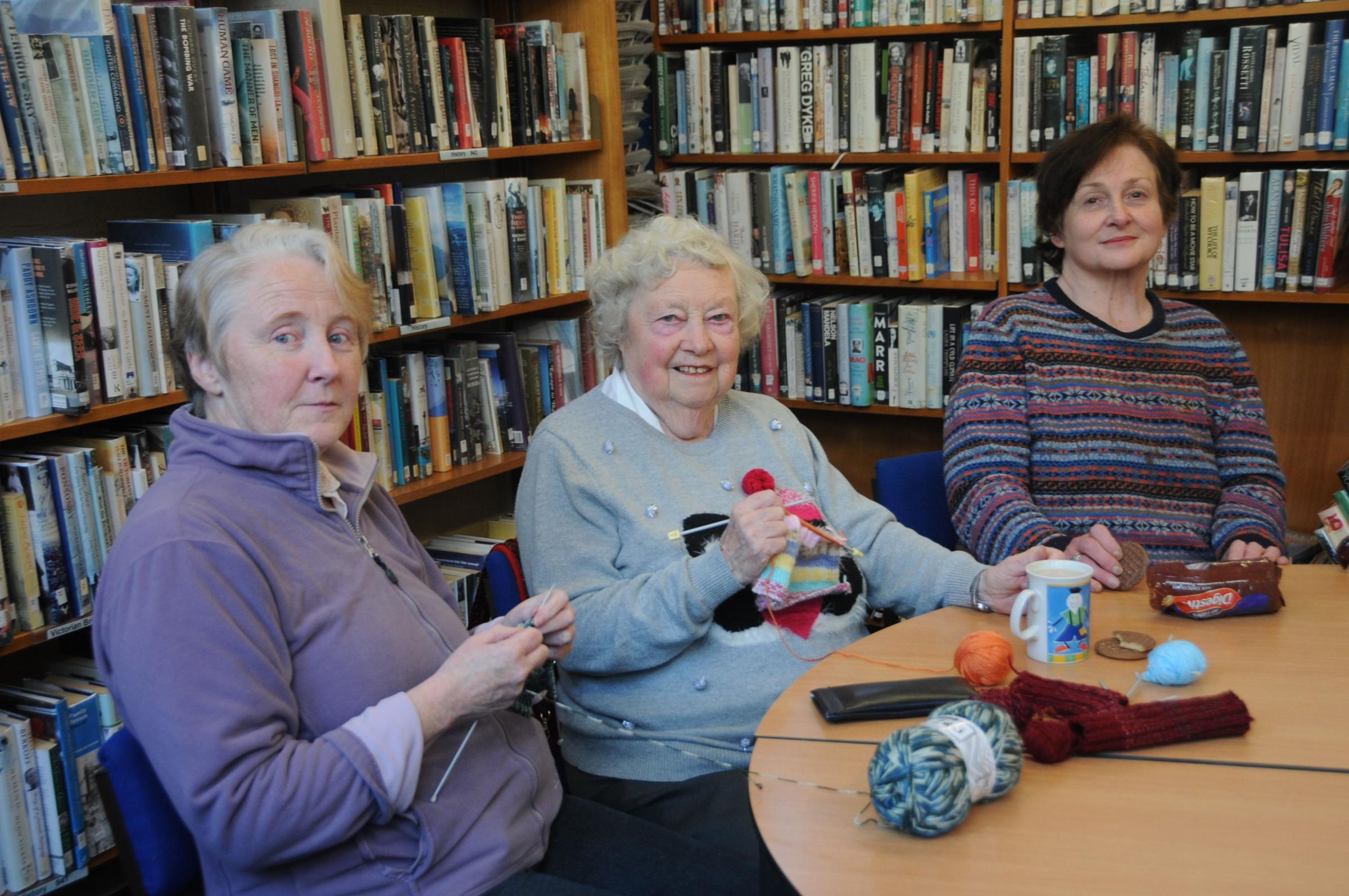 New members to the weekly Sit and Knit at Church Stretton Library are most welcome. The social event runs from 10am until 12.30pm. From left at a recent Sit and Knit are Carmen Duggan, Helen Roberts and Kate Gaul.