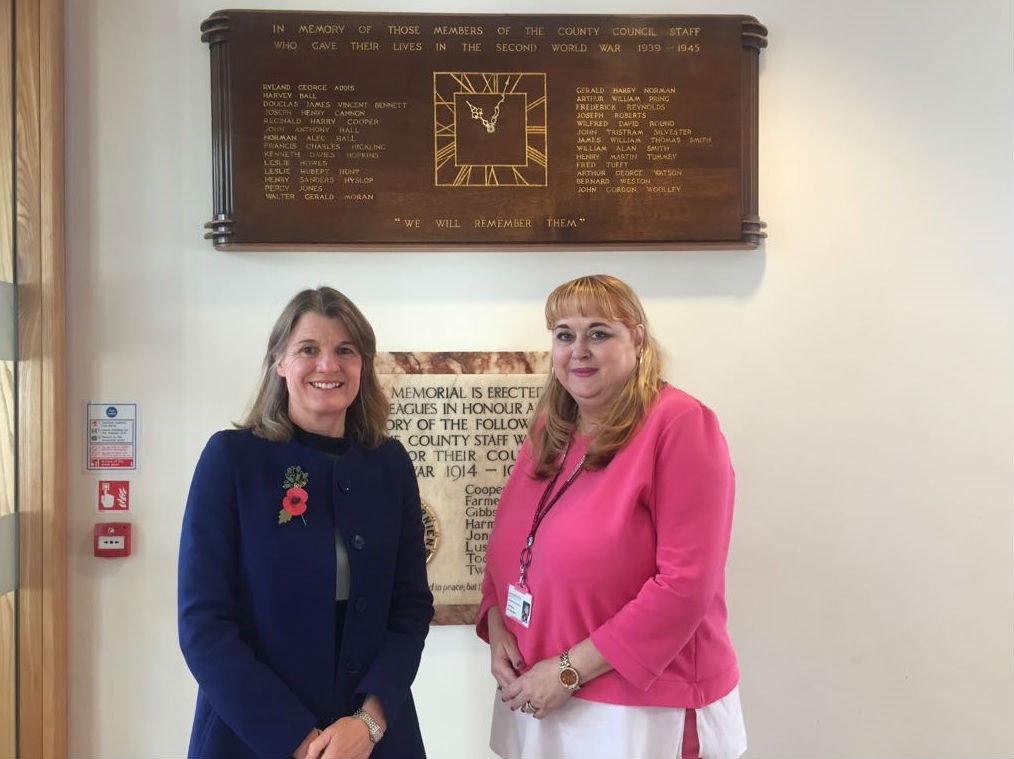 MP Rachel Maclean with Arrow Valley East County Councillor, Juilet Brunner, at County Hall