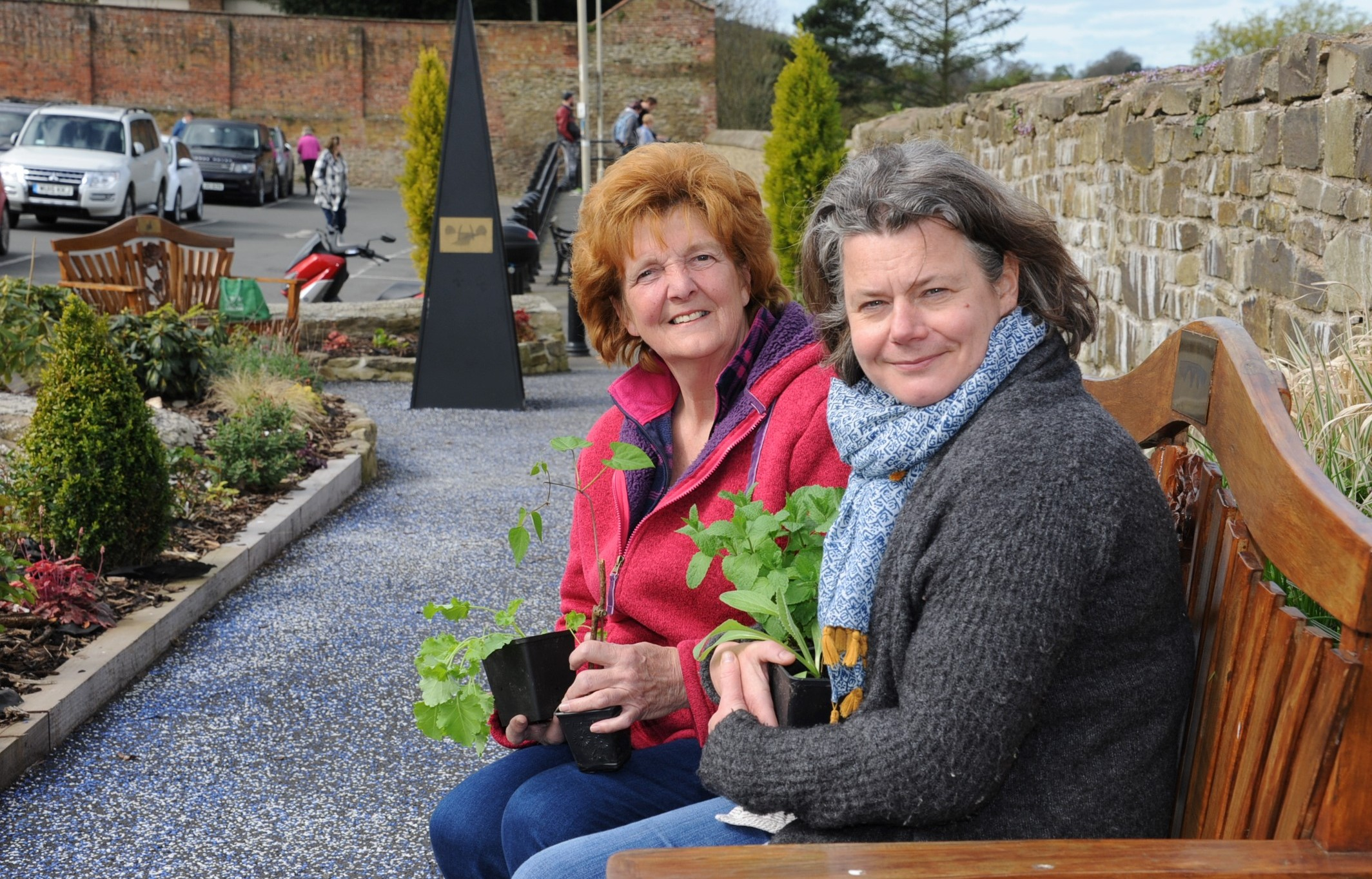 Vegetables in Bloom part of last year's Ludlow in Bloom campaign...Vivienne Parry (Chairman, Ludlow in Bloom) with Tish Marsh (Chairman, Incredible Edible) with some vegetable plants in the town centre car park.