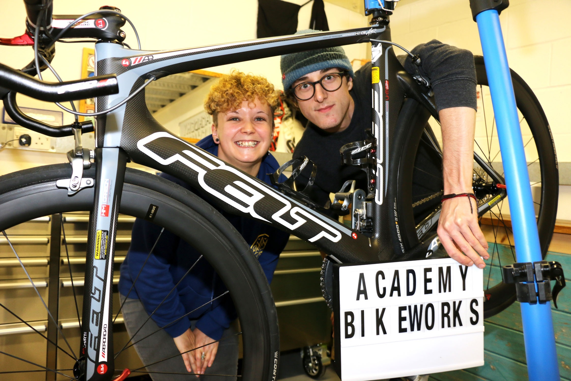 Hannah Smith and Owen Hazlewood, of new Bromsgrove bike shop Academy Bikeworks