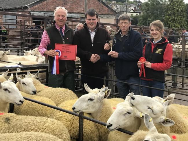 From left: Glyn Owens, McCartneys – Auctioneer, Ed Jones, Heartsease – Judge, Philip and Elizabeth Swancott of T A Swancott & Son – Champion Pen of Lambs