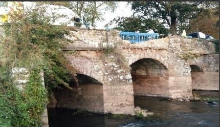 The damaged Lugwardine Bridge after a car smashed into the parapet wall. Picture courtesy Balfour Beatty Living Places