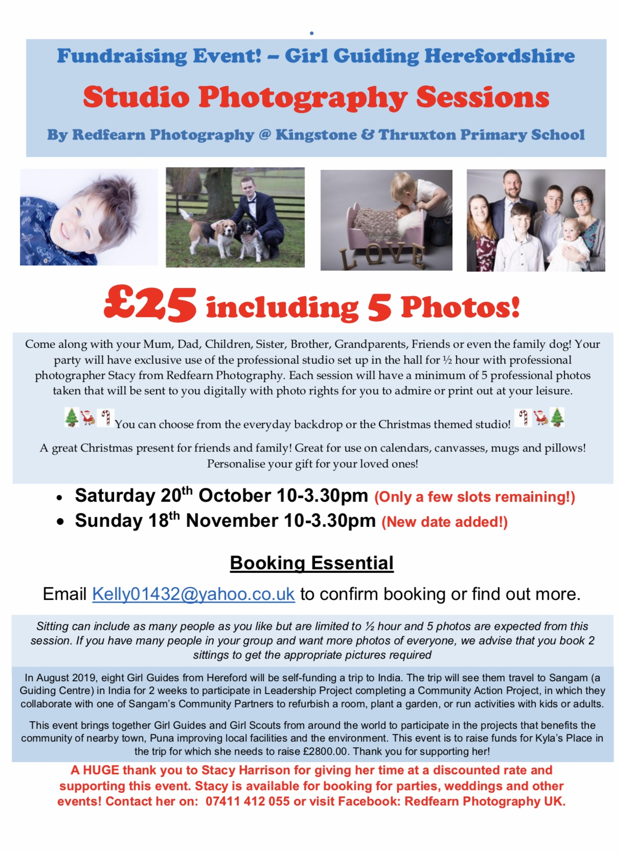 Fundraising Photo-Shoot! £25 with 5 free photos!