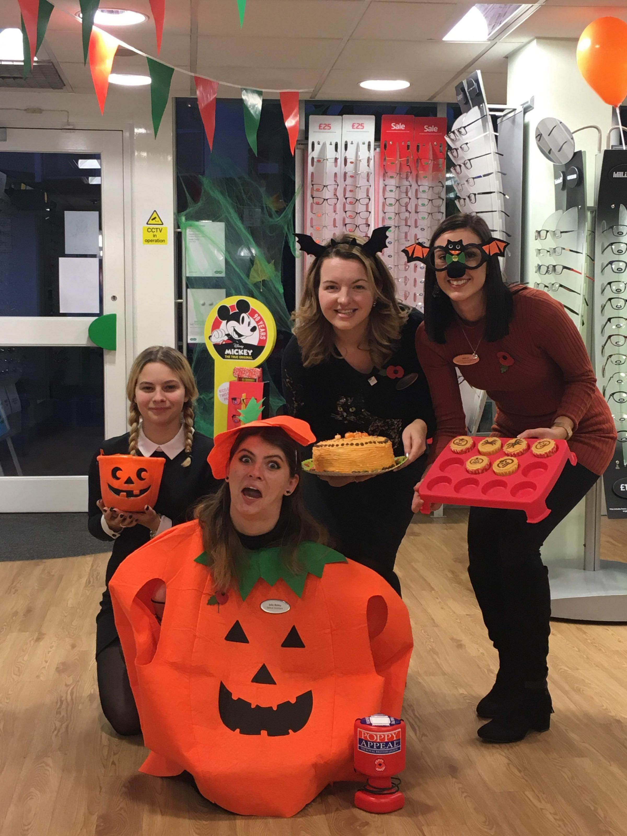 Caption: From left to right: Lauren Adams, Julia Bailey (dressed as the pumpkin), Rebecca Lewis and Bethan Edwards.
