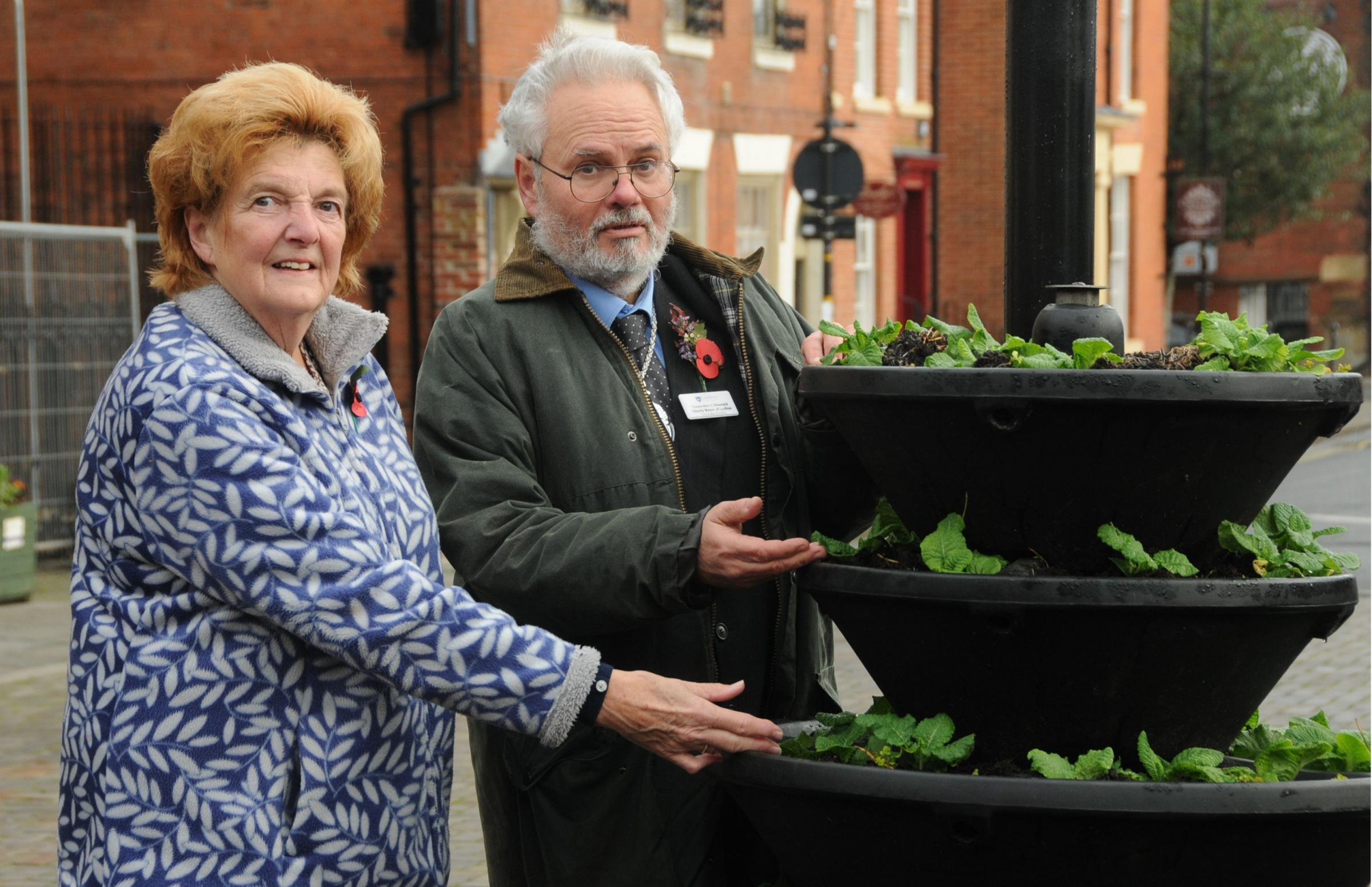 Councillor Viv Parry and Ludlow Town Council Deputy Mayor  Councillor Colin Sherward with the planters.