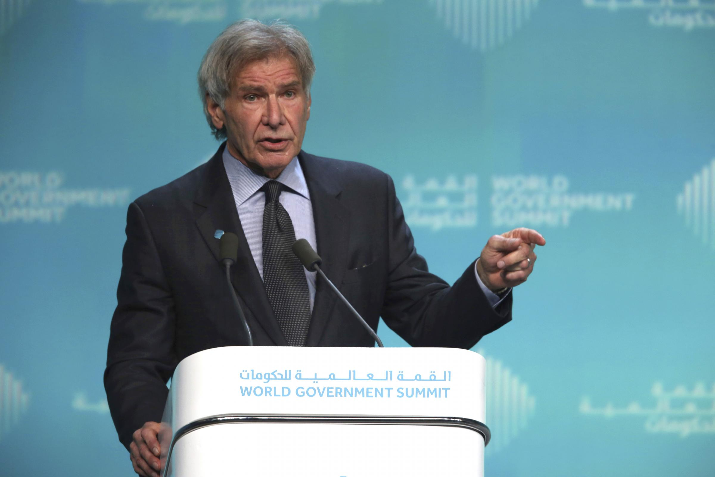 Harrison Ford speaks about ocean conservation at the World Government Summit in Dubai