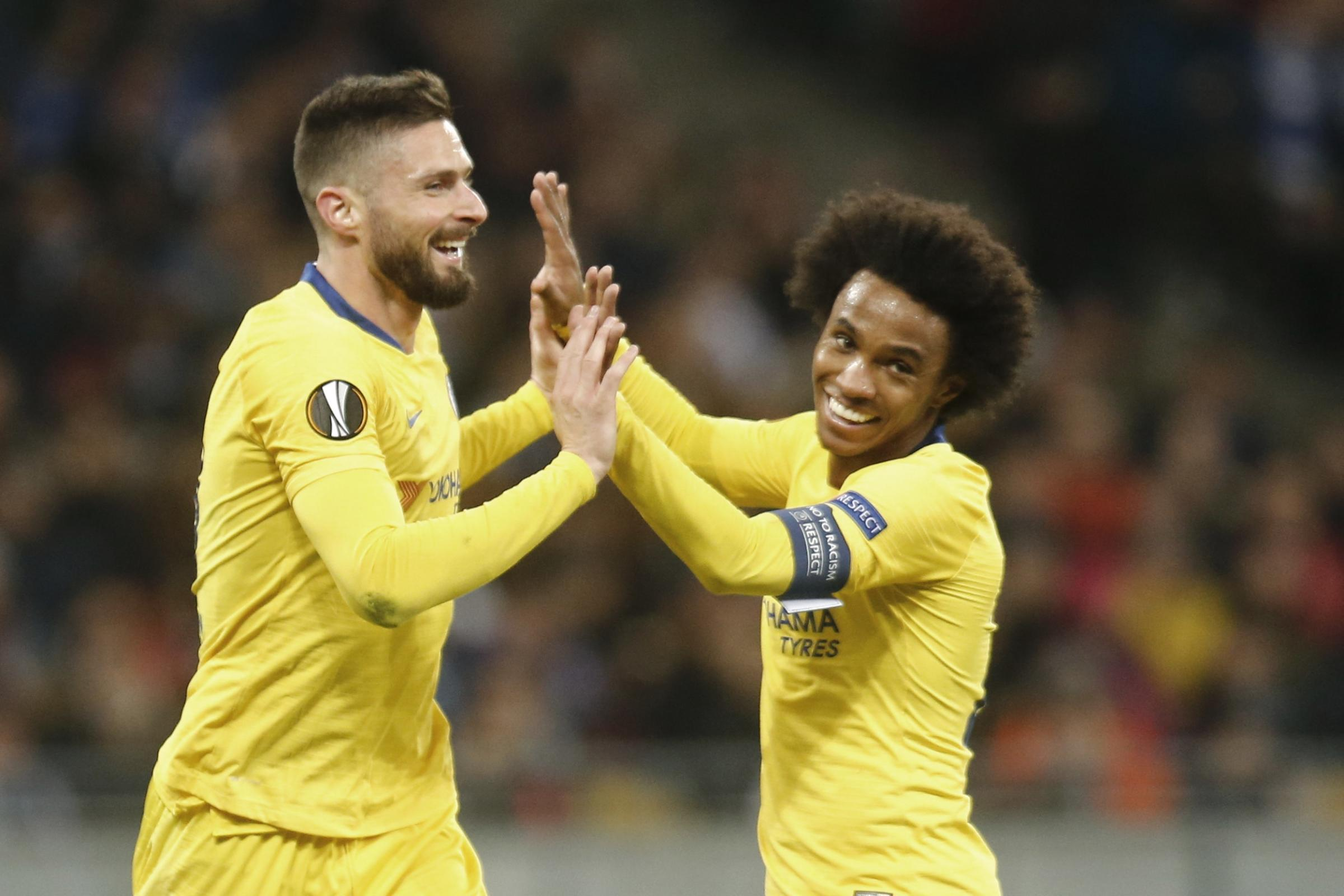 Chelsea's Olivier Giroud notched a hat-trick in Ukraine