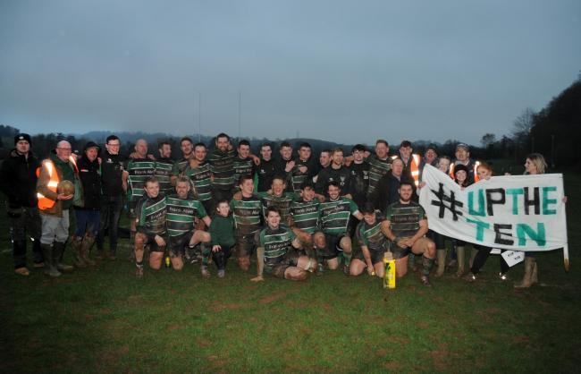 The jubilant Tenbury Wells Rugby team after beating Clee Hill in the last round