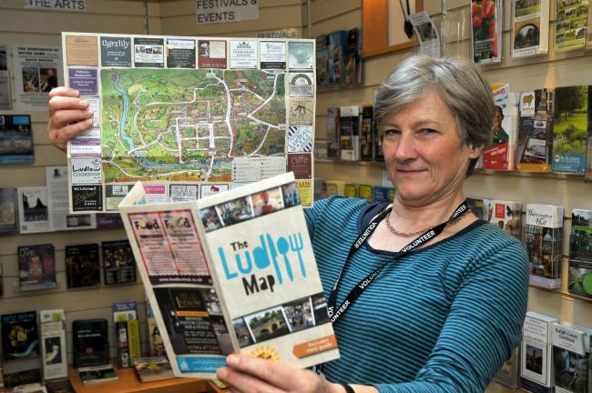 Ludlow Visitor Information Centre is fully stocked up with a brochure depicting attractions, events and a map of the town. With the brochure, called The Ludlow Map is visitor information centre volunteer Alison Cundall. The town map project is led by the