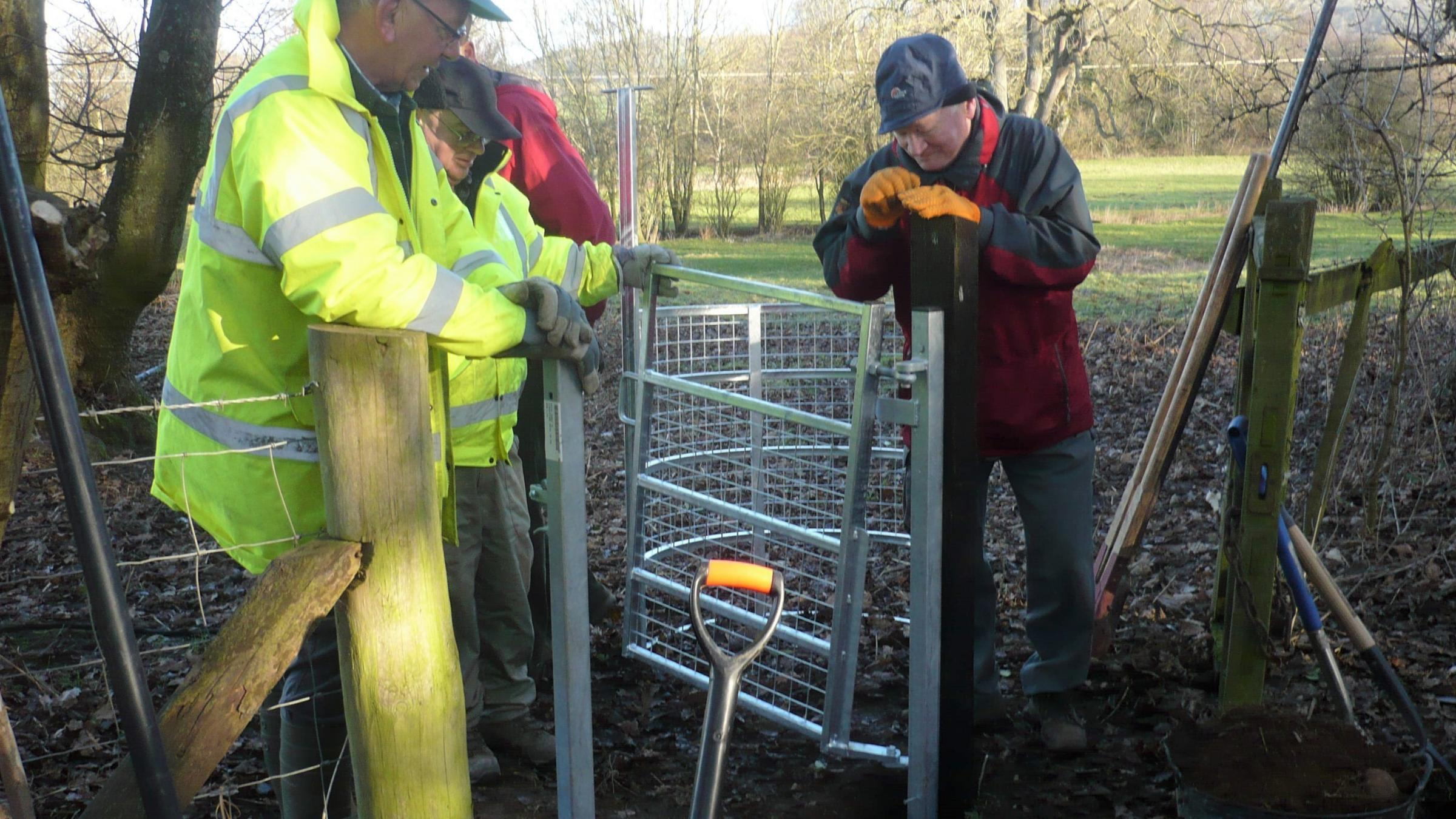 Members of the Ludlow Parish Path Partnership Group working hard to maintain the local footpaths