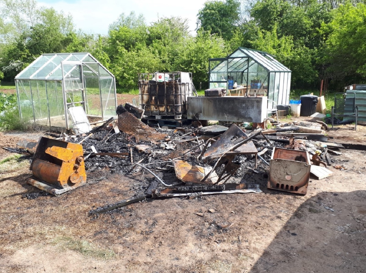 FIRE: Devastation left by the fire at the Pershore allotment. Picture: @PershoreCops