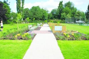 The view of the Tenbury Civic Sensory Garden.