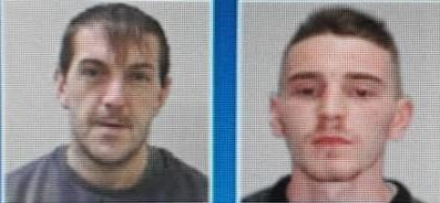 Matthew Borkowski (L) and Daniel Davies (R) are wanted by police. Photo: West Mercia Police